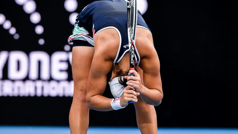 One that got away: Ash Barty reacts to a missed opportunity.