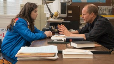 Emotional download: Hailee Steinfeld as Nadine with Woody Harrelson as her English teacher.