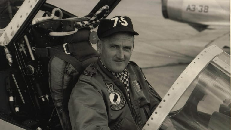 Wing commander Jim Flemming, in the pilot's seat of a Mirage fighter aircraft based at Williamtown RAAF Base and deployed to Malaysia in 1967.