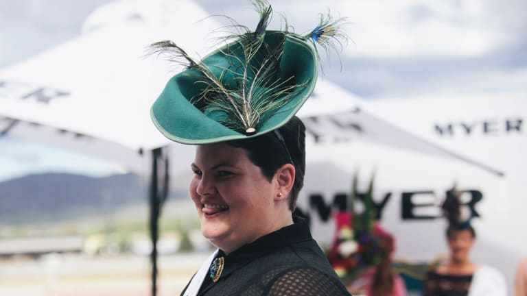 Jenn Lewis of Ngunnawal took out the millinery award with her emerald green fascinator.