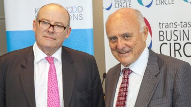 National Mental Health Commission chairman Professor Allan Fels (right) with lawyer John Canning, who has been diagnosed with bipolar disorder.