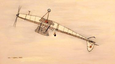 <i>Self Portrait of the Artist Stunting</I>, 1958, expresses the joy of flight.
