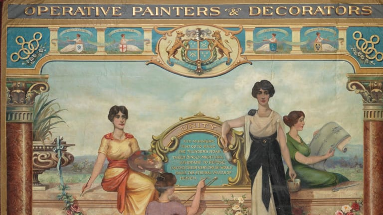 Operative Painters & Decorators Union of Australasia, Victorian Branch, 1915 (detail) oil on silk. Courtesy of Museum Victoria and the Construction, Forestry, Maritime, Mining and Energy Union.