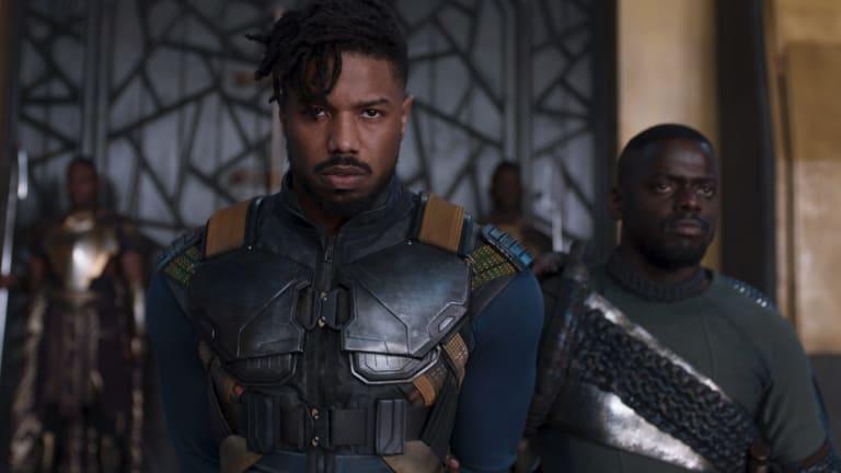 Erik Killmonger (Michael B. Jordan, left) and W'Kabi (Daniel Kaluuya) in <i>Black Panther</i>.