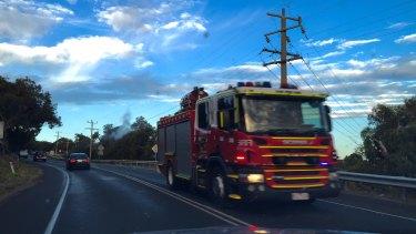 Fire trucks heading towards Lorne.