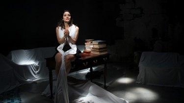 Andrea Demetriades as the lead character in <i>Antigone</i>.