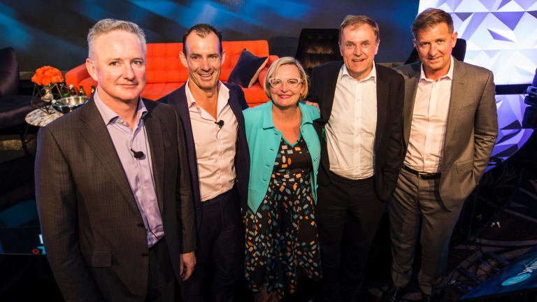 Media united: Nine CEO Hugh Marks, Ten CEO Paul Anderson, ThinkTV CEO Kim Portrate, Foxtel CEO Peter Tonagh and Seven CEO Tim Worner.