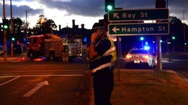 The Nepean Highway at Brighton was closed as the siege unfolded.
