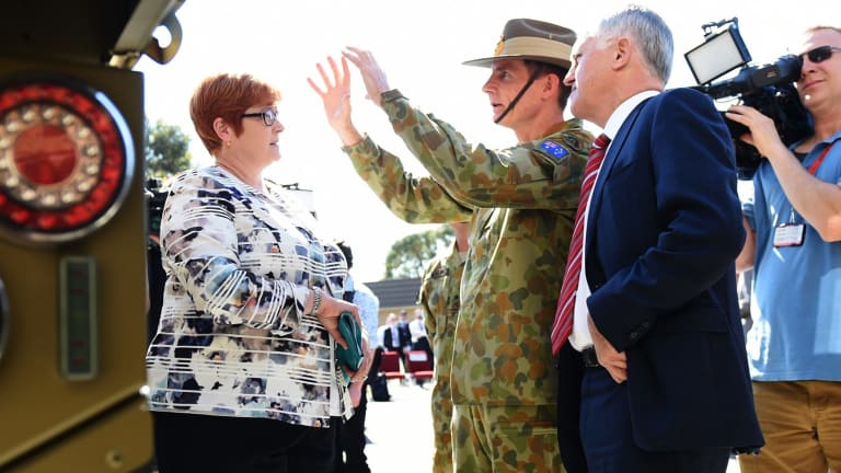 Malcolm Turnbull and Payne with army chief Angus Campbell in October.