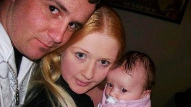 Skye Sassine with her parents Justin Wright and Aimee Sassine.