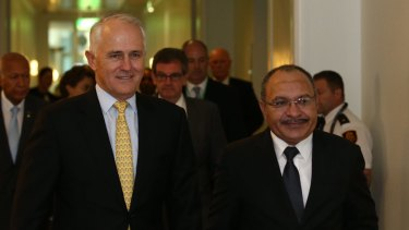 Prime Minister Malcolm Turnbull with PNG Prime Minister Peter O'Neill at Parliament House in March.