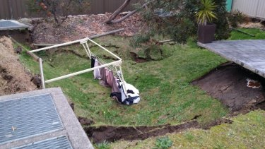 The sinkhole in Illawong that opened up about 4pm on Monday.