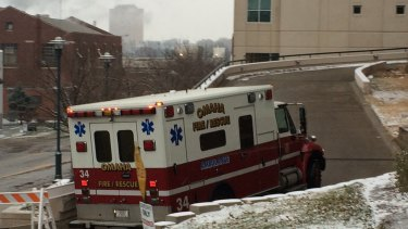 Biocontainment unit: An ambulance takes Ebola patient Martin Salia to the Nebraska Medical Centre in Omaha.