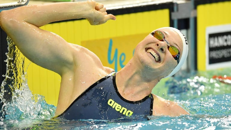Stunning return: Cate Campbell breaks the short course world record for the 100m freestyle.