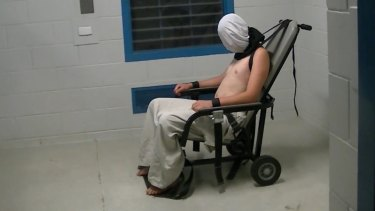The image of Dylan Voller in a spit-hood at the Don Dale Youth Detention Centre that helped trigger the royal commission.