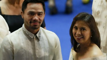 Filipino boxer and now senator Manny Pacquiao with Philippines Vice-President Leni Robredo.