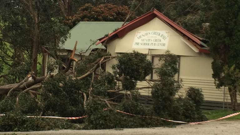 Menzies Creek Hall suffered extensive damage due to the wind storm.