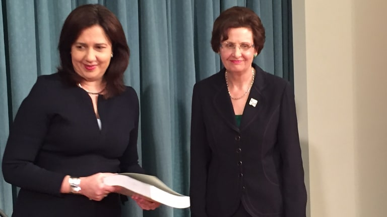 Premier Annastacia Palaszczuk receives the report into the closure of Wacol's Barrett Adolescent Centre from Commissioner Margaret Wilson QC.