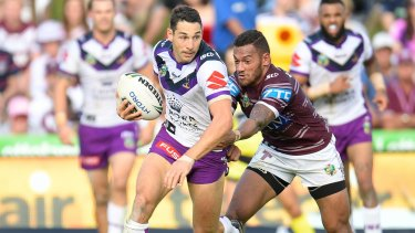 Discretion: Billy Slater was very forward against Manly but not so forthcoming on how much of the revenue pie the players want.