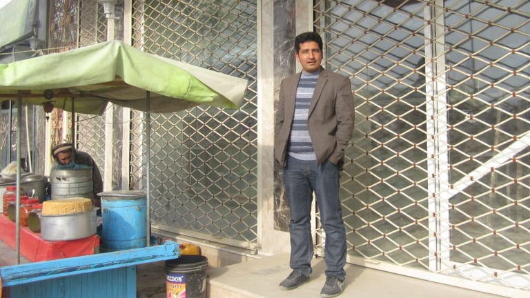 Aajan standing outside his soon-to-open restaurant, Labaik.