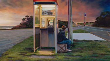 Less than 10 per cent of Australians now use a public telephone box. Painting by Julia Ciccarone. The package, 2014 oil on linen, 80 x 172cm. (16628) Private collection, Melbourne. Courtesy of the artist and Niagara Galleries, Melbourne.