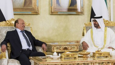 Exiled Yemeni President Abed Rabbo Mansour Hadi (left) with Sheikh Mohamed bin Zayed al-Nahyan, Deputy Supreme Commander of the armed forces of the United Arab Emirates.