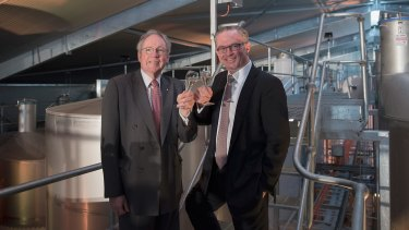 Lion chairman Sir Rod Eddington (left) and chief executive Stuart Irvine at the opening of a new $14 million Petaluma winery in the Adelaide Hills.