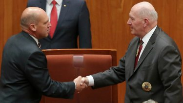 President of the Senate Stephen Parry shakes hands with Governor-General Sir Peter Cosgrove at the opening of the 45th Parliament.