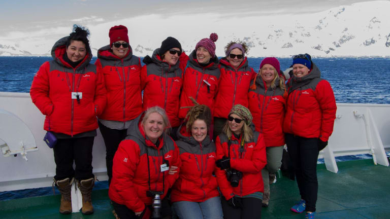 The Victorian Homeward Bound 2016 contingent approaching the Antarctic Peninsula.