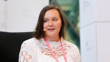 Teen entrepreneur Rebecca Rusinovic was the youngest keynote speaker at Pause Festival at Federation Square.