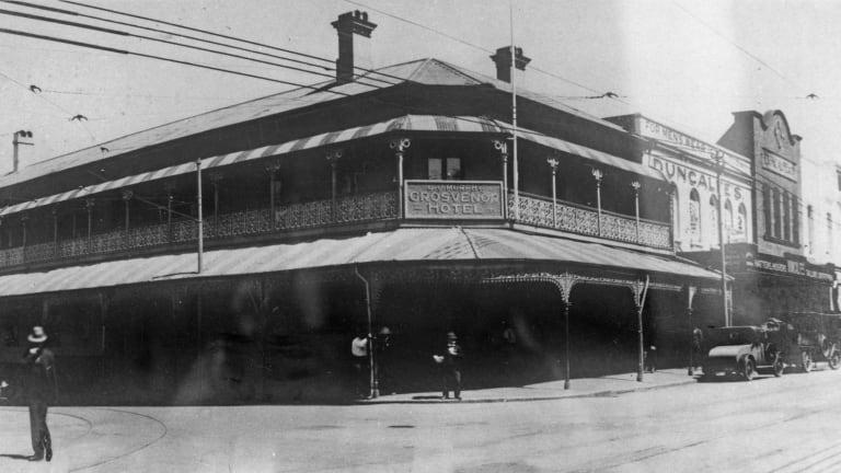 A historical image of the Grosvenor Hotel circa 1929.