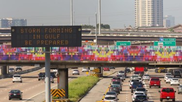 A traffic sign reminds motorists to prepare for Hurricane Harvey in Houston.