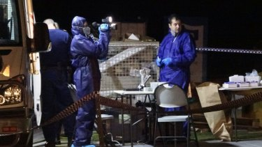 Forensic officers at the crime scene in Yanchep.