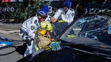 Barangaroo emergency rescue exercise on Sunday.