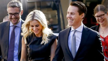 Roxy Jacenko and her husband, Oliver Curtis, arrive at court during his insider trading trial last May.