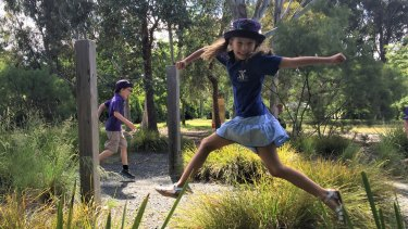 Aya Zisserman, 8, leaps into sharing her ideas to transform Finn Street Park O'Connor into an area for nature play.