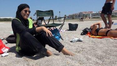 Nissrine Samali, 20, on the beach in Marseille.