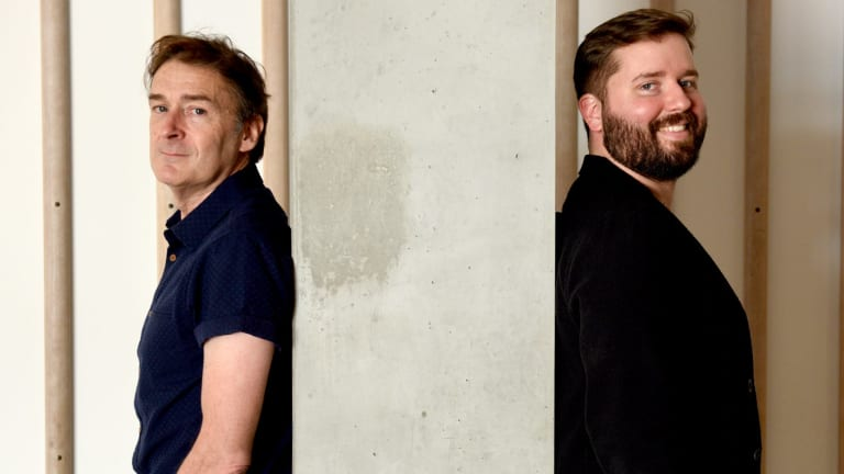 Sydney Theatre Company interim artistic director Kip Williams (right) with the writer and director of <i>Muriel's Wedding</i> PJ Hogan.