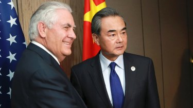 US Secretary of State Rex Tillerson and Chinese Foreign Minister Wang Yi in Manila for the ASEAN foreign ministers' meeting.