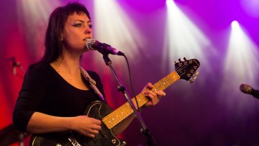 Angel Olsen on stage at the Meredith Music Festival.