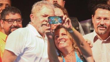 Former Brazilian president Luiz Inacio Lula da Silva with supporters in Rio this month.