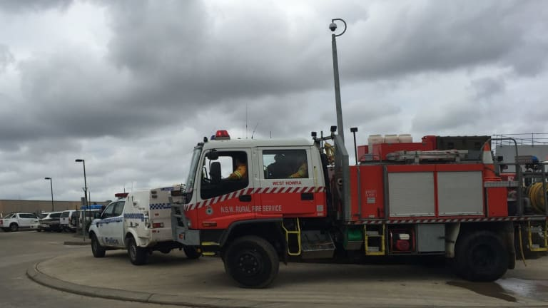 Emergency service crews attending a fire at the South Coast Correctional Centre at South Nowra.