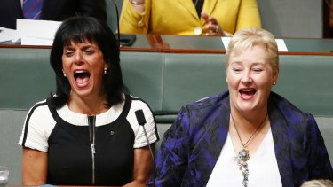 Liberal MPs Julia Banks and Ann Sudmalis in Parliament House in March.