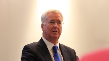 Sir Michael Fallon, Britain's Defence Secretary, at a fringe event at the Tory party conference in Manchester, October 2017.