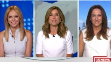 Calm before the storm: Julie Snook, Amber Sherlock and Sandy Rea on 9 News Now on Wednesday.