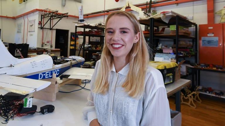 Caroline Hamilton Smith at the University of Sydney school of aeronautical engineering.