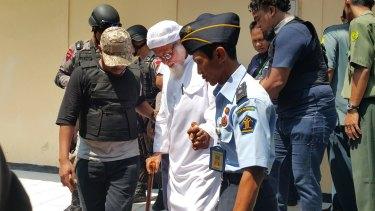 Abu Bakar Bashir outside court in Cilacap on Wednesday.