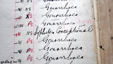 Syphilis and gonorrhea have been afflicting Melburnians for generations, as shown by this century-old patient ledger from the Melbourne Sexual Health Clinic.