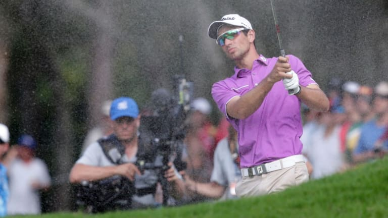 Out of trouble: Jordan Zunic plays from the sand during the third round of the Australian PGA.