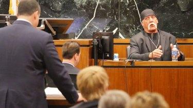 Wrestler Hulk Hogan testifies in his case against the news website Gawker in St Petersburg, Florida, in March.